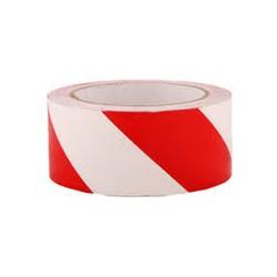 Taśma ostrzegawcza 100 x100, 50 mic biało - czerwona